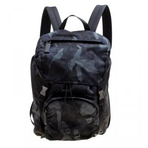 Prada Dark Blue Nylon Camouflage Drawstring Backpack