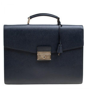 Prada Navy Blue Saffiano Leather Briefcase