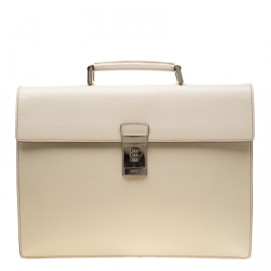 Prada Cream Saffiano Cuir Leather Briefcase