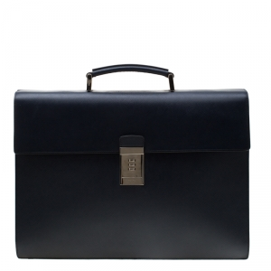 Prada Navy Blue Saffiano Cuir Leather Briefcase