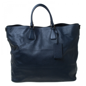 Prada Navy Blue Saffiano Soft Leather Weekender Bag