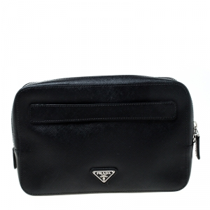 Prada Black Saffiano Leather Studded Travel Pouch