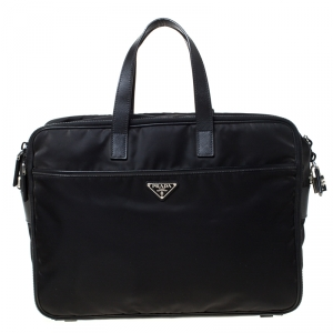 Prada Black Nylon and Leather Zip Briefcase