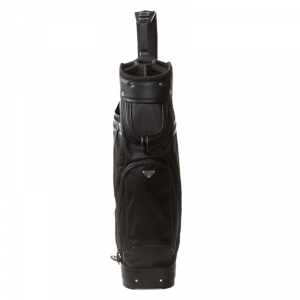 Prada Black Tessuto and Saffiano Leather Golf Bag
