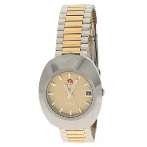 ساعة يد رجالية رادو أوريجينال دياستر ستانلس ستيل ذهبية 35 مم