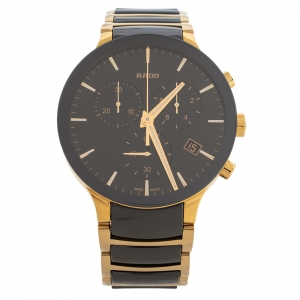 Rado Black Ceramic Gold Tone Stainless Steel Centrix R30134162 Men's Wristwatch 40 mm