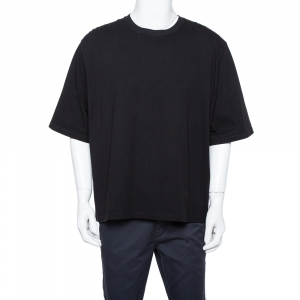 Raf Simons Black Cotton Cutout Graphic Print Crew Neck T-Shirt L