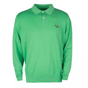 Ralph Lauren Green Cotton Knit Long Sleeve Polo T-Shirt XXL