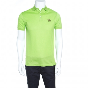 Ralph Lauren Lime Green Honeycomb Knit Short Sleeve Polo T-Shirt S