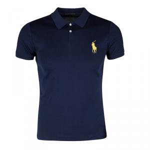 Ralph Lauren Navy Blue Logo Embroidered Slim Fit Polo T-Shirt L