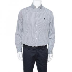 Ralph Lauren Monochrome Striped Cotton Long Sleeve Shirt M