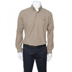 Ralph Lauren Olive Green Checked Cotton Button Down Shirt M