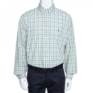 Ralph Lauren Pale Yellow Checked Cotton Button Down Shirt 3XL