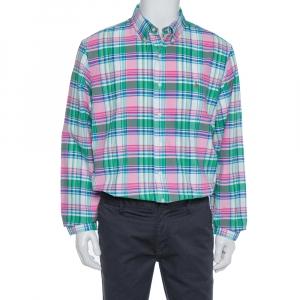 قميص رالف لورين أكمام طويلة و أزار أمامية قطن مربعات متعدد الألوان مقاس كبير جداً (اكس لارج)