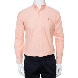 Ralph Lauren Pink Cotton Button Front Custom Fit Shirt S