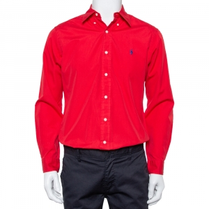 Ralph Lauren Red Cotton Button Front Classic Fit Shirt S