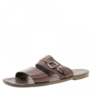Ralph Lauren Brown Leather Buckle Detail Slides Size 42