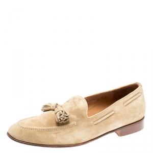 Ralph Lauren Beige Suede Shanley Tassel Loafers Size 42