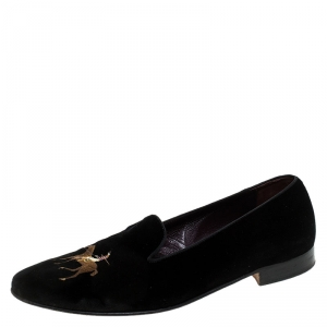 Ralph Lauren Black Velvet Collis Velvet Horse Slipper Loafers Size 44