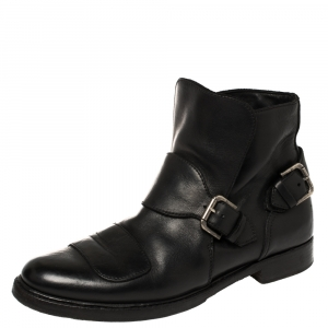 Ralph Lauren Black Leather Buckle Detail Ankle Boots Size 43