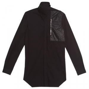 قميص ريك اوينز فيشيس نيو ايلاند قطن مزين بقطعة جلد أسود S