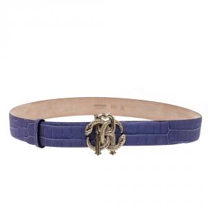 Roberto Cavalli Purple Croc Embossed Leather Logo Buckle Belt 100CM