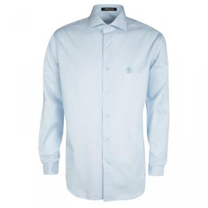 Roberto Cavalli Blue and White Striped Logo Embroidered Long Sleeve Button Front Shirt L