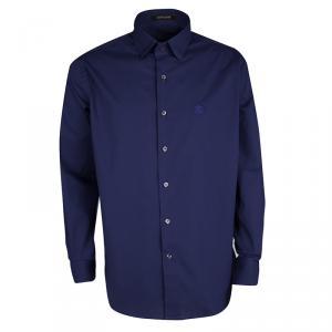 Roberto Cavalli Blue Cotton Logo Embroidered Long Sleeve Button Front Shirt XXL