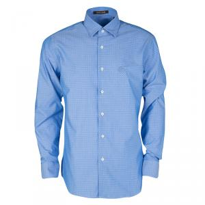 Roberto Cavalli Blue Cotton Dobby Jacquard Long Sleeve Slim Fit Shirt XL