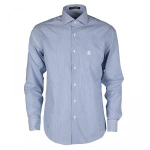 Roberto Cavalli Blue and White Striped Cotton Long Sleeve Slim Fit Shirt M