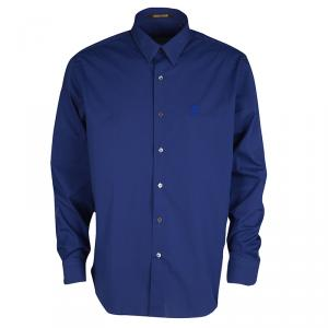 Roberto Cavalli Dark Blue Cotton Long Sleeve Slim Fit Shirt 3XL