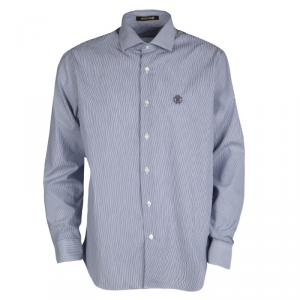 Roberto Cavalli Navy Blue and White Striped Cotton Long Sleeve Slim Fit Shirt L