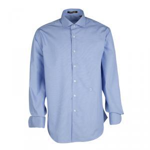 Roberto Cavalli Blue Cotton Logo Embroidered Long Sleeve Slim Fit Shirt XL