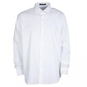 Roberto Cavalli White Self Dot Cotton Dobby Long Sleeve Slim Fit Shirt M