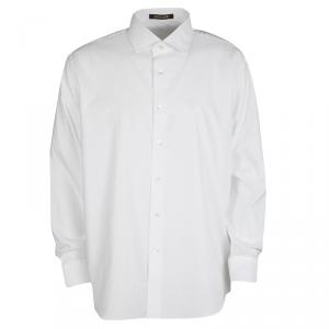 Roberto Cavalli White Self Dot Cotton Dobby Long Sleeve Slim Fit Shirt 4XL