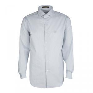 Roberto Cavalli Monochrome Striped Cotton Long Sleeve Slim Fit Shirt L