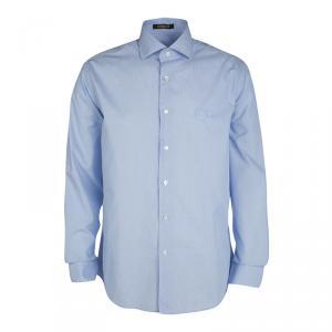 Roberto Cavalli Blue Cotton Long Sleeve Button Front Slim Fit Shirt XL