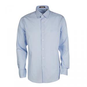 Roberto Cavalli Blue Mini Houndstooth Cotton Dobby Long Sleeve Slim Fit Shirt XL