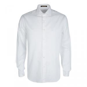 Roberto Cavalli White Cotton Jacquard Long Sleeve Regular Fit Shirt XL