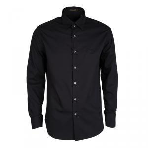 Roberto Cavalli Black Cotton Long Sleeve Button Front Slim Fit Shirt M