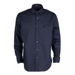 Roberto Cavalli Navy Blue Cotton Long Sleeve Button Front Slim Fit Shirt L