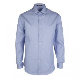 Roberto Cavalli Blue Hairline Striped Cotton Long Sleeve Slim Fit Shirt L