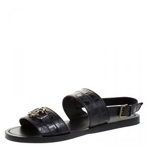 Roberto Cavalli Black Croc Embossed Leather Logo Flat Sandals Size 41