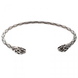 Roberto Cavalli Engraved Silver Tone Narrow Serpenti Bracelet