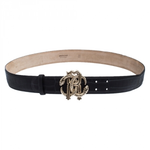 Roberto Cavalli Black Croc Embossed Leather Logo Buckle Belt 100CM