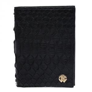 Roberto Cavalli Black Python Leather Bifold Wallet