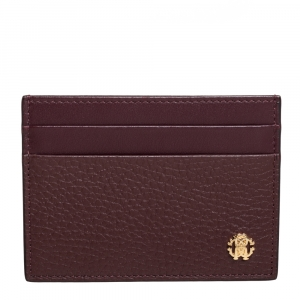 Roberto Cavalli Burgundy Leather Card Holder
