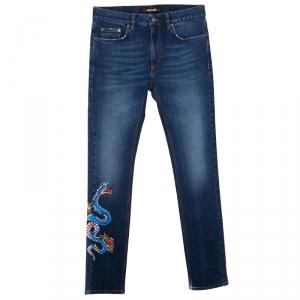 Roberto Cavalli Indigo Dark Wash Faded Effect Snake Painted Stretch Jeans M