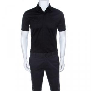 Class by Roberto Cavalli Black Windowpane Checked Cotton Short Sleeve Shirt M