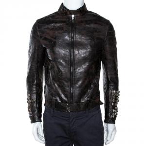 Roberto Cavalli Black Marble Print Leather Studded Jacket M
